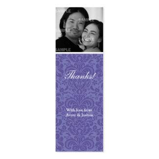 Violet Damask Skinny Favor Tag Business Card Template