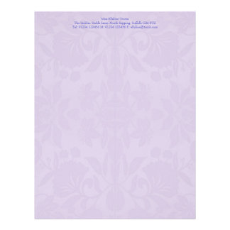 Violet Damask Stationery Custom Letterhead
