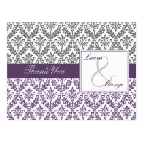 violet  damask wedding Thank You Postcard