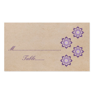 Violet Daring Floral Blooms Wedding Place Card Business Card Templates