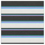 [ Thumbnail: Violet, Dark Cyan, Black, White & Deep Sky Blue Fabric ]