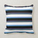 [ Thumbnail: Violet, Dark Cyan, Black, White & Deep Sky Blue Throw Pillow ]