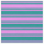 [ Thumbnail: Violet & Dark Cyan Stripes/Lines Pattern Fabric ]