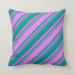 [ Thumbnail: Violet & Dark Cyan Stripes/Lines Pattern Pillow ]