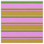 [ Thumbnail: Violet, Dark Goldenrod, and Green Colored Lines Fabric ]
