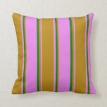 [ Thumbnail: Violet, Dark Goldenrod, and Green Colored Lines Throw Pillow ]