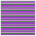 [ Thumbnail: Violet, Dark Green, and Dark Violet Colored Lines Fabric ]
