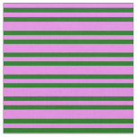 [ Thumbnail: Violet & Dark Green Colored Lined Pattern Fabric ]