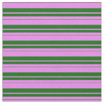 [ Thumbnail: Violet & Dark Green Colored Stripes/Lines Pattern Fabric ]