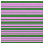 [ Thumbnail: Violet & Dark Green Colored Stripes Pattern Fabric ]