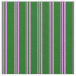 [ Thumbnail: Violet & Dark Green Striped Pattern Fabric ]