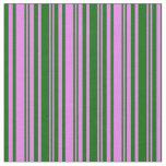 [ Thumbnail: Violet & Dark Green Stripes Pattern Fabric ]