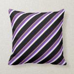 [ Thumbnail: Violet, Dark Olive Green, Purple, White & Black Throw Pillow ]