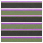 [ Thumbnail: Violet, Dark Orchid, Olive Green, Black & White Fabric ]