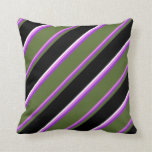 [ Thumbnail: Violet, Dark Orchid, Olive Green, Black & White Throw Pillow ]