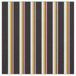 [ Thumbnail: Violet, Dark Slate Gray, Orange, White & Black Fabric ]
