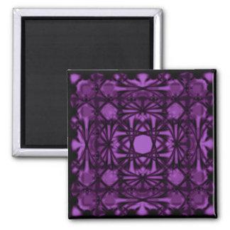 Violet Deco Shamrock 2 Inch Square Magnet