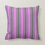 [ Thumbnail: Violet & Dim Gray Colored Lined Pattern Pillow ]