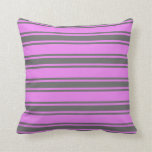 [ Thumbnail: Violet & Dim Gray Lines Pattern Throw Pillow ]