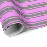 [ Thumbnail: Violet & Dim Gray Lines Pattern Wrapping Paper ]