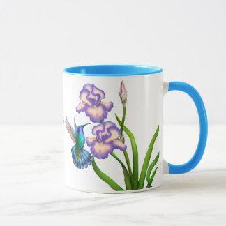 Violet Eared Hummingbird on Iris Flowers Mug