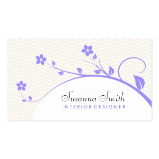 Violet elegant card of flowers clearly and chevrón business cards