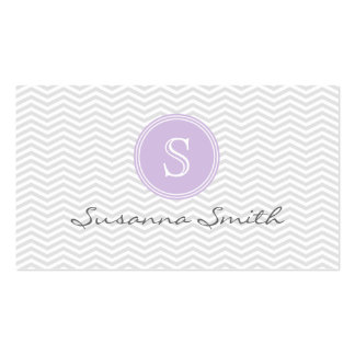 Violet elegant group of monograma and chevrón business card templates