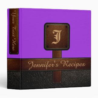 Violet Elegant Recipe Leather Look Vinyl Binder