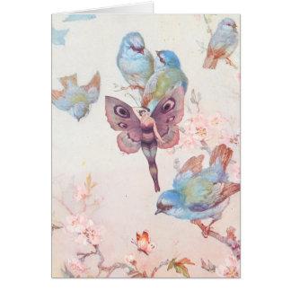 Violet Fairy Girl and Bluebirds Card