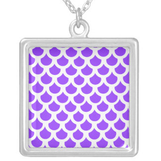 Violet Fish Scale 2 Silver Plated Necklace
