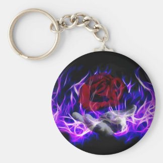 Violet flame rose and Gods hand Keychains