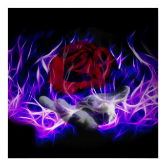 Violet flame rose and Gods hand Poster