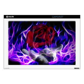 """Violet flame rose and Gods hand 17"""" Laptop Skins"""
