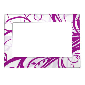 Violet Floral Swirls Mother's Day Magnetic Picture Frames
