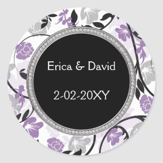violet floral wedding seals sticker
