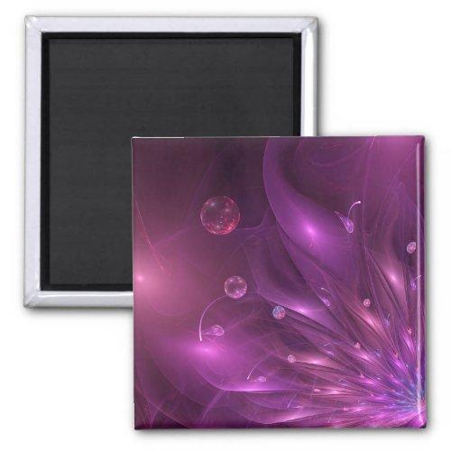 Violet flower 3D in the wind _ fractal impression Magnet