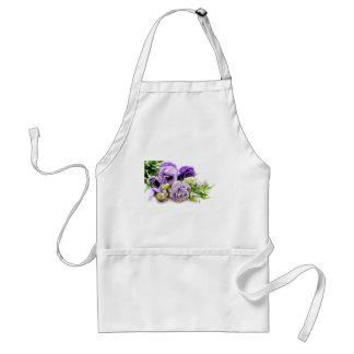 violet flowers adult apron