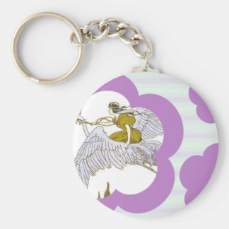 Violet Flowers & Stripes Keychain