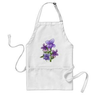 Violet flowers art print apron