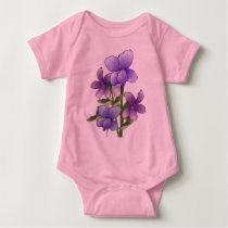 Violet flowers art print baby bodysuit