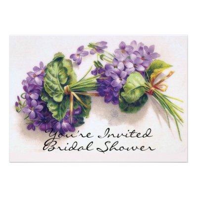 Violet Flowers Bridal Shower Custom Invite