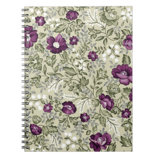 Violet flowers design spiral note book