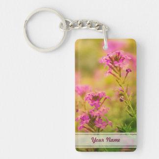 Violet Flowers Double-Sided Rectangular Acrylic Keychain