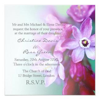 Violet flowers personalized wedding invitation