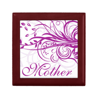 Violet Flowers Swirls Mother's Day Gift Box