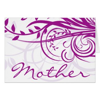 Violet Flowers Swirls Mother's Day Greeting Card