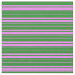 [ Thumbnail: Violet & Forest Green Colored Lines Pattern Fabric ]