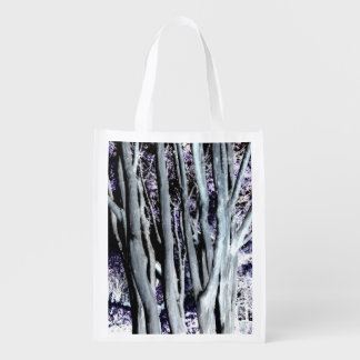 Violet Forest Grey Tree Purple Artistic Photo Grocery Bags
