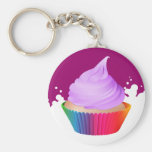 Violet Frosting Vanilla Cupcake Rainbow Baking Cup Key Chain