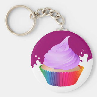 Violet Frosting Vanilla Cupcake Rainbow Baking Cup Basic Round Button Keychain